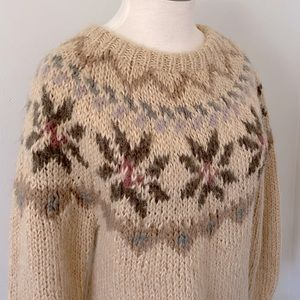 Vintage Fair Isle 100% Wool Knit Sweater